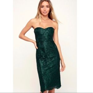 NWT Lulu's What A Knockout Emerald Strapless Dress